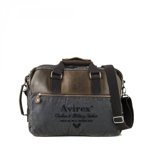 Avirex- D Day - Cartella da lavoro/zaino in canvas marrone scuro cod. DDY-F09
