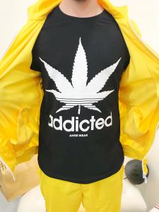 T-shirt uomo in puro cotone elasticizzato con stampa frontale canapa made in italy |TG S M  L XL