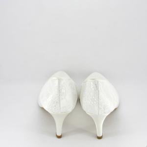 Scarpa donna elegante da sposa e cerimonia in tessuto di raso e pizzo