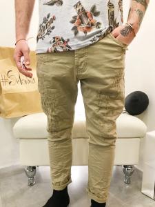 Jeans uomo cavallo basso in denim beige strappato foderato  TG 44/46/48/50/52