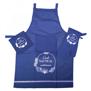 Set da cucina - grembiule+guantone+presina CLUB NAUTICAL blu