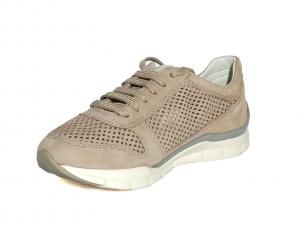 Sneaker taupe con perforazioni Geox