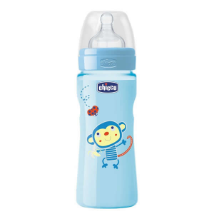 Chicco Well-Being Biberon Silicone PP Flusso Veloce Azzurro 4m+ 330ml