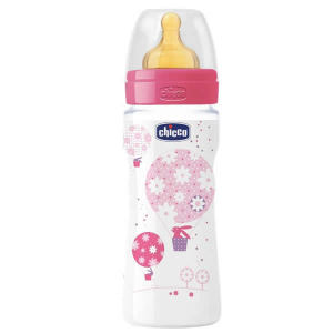 Chicco Well-Being Biberon Caucciù PP Flusso Veloce Rosa 4m+ 330ml