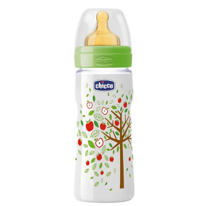 Chicco Well-Being Biberon Caucciù PP Flusso Veloce Verde 4m+ 330ml