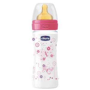 Chicco Well-Being Biberon Caucciù PP Flusso Medio Rosa 2m+ 250ml