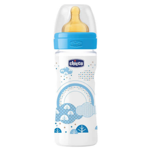 Chicco Well-Being Biberon Caucciù PP Flusso Medio Azzurro 2m+ 250ml