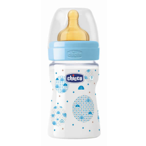 Chicco Well-Being Biberon Caucciù PP Flusso Normale Azzurro 0m+ 150ml