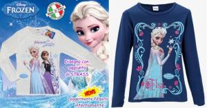 Disney Frozen T-Shirt  Maglia Cotone Felpato da 4 a 12 anni Anna Elsa Originale nuova