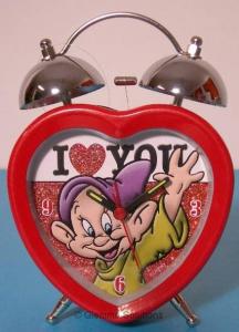 Disney Sette Nani Cucciolo Sveglia Metallo Sagomata Cuore Campane