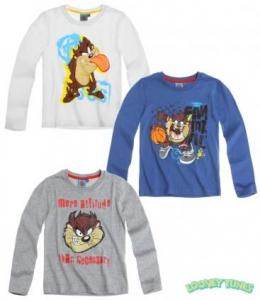 Looney Tunes Tazmania Maglia t-shirt bimbo manica lunga da 4 a 10 anni cotone