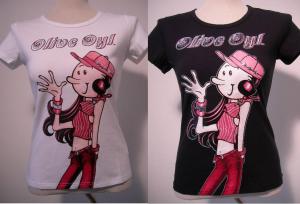 Olivia Oyl Jeans T-Shirt donna strass sfiancata manica corta nuova cotone