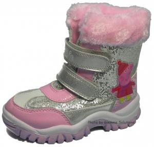 Peppa Pig scarponcini stivaletti Neve Inverno stivali rosa argento velcro
