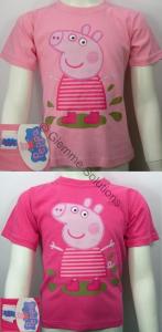 Peppa Pig  T-Shirt maglia Fango bambina manica corta nuova cotone