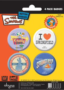 Simpson set 4 spille badge Springfield
