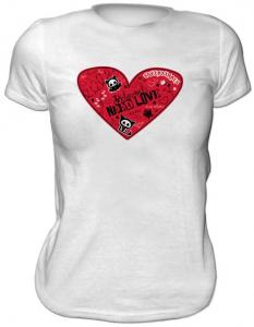 Skelanimals Cuore Maglia T-Shirt donna manica corta nuova cotone Originale