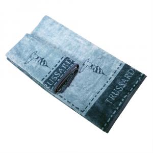 Trussardi set 1+1 asciugamano e ospite in spugna BORDER STITCH verde acqua