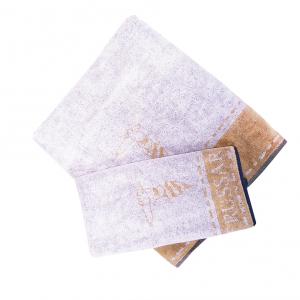 Trussardi set 1+1 asciugamano e ospite in spugna BORDER STITCH oro