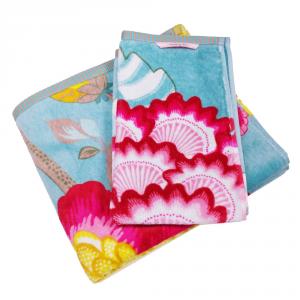 Set 1+1 asciugamano e ospite PIP STUDIO Floral Fantasy turchese
