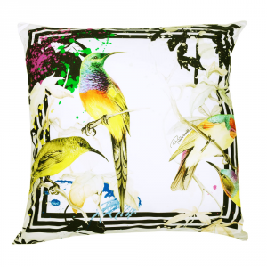 Cuscino decorativo ROBERTO CAVALLI 40x40 cm in raso BIRD RAMAGE
