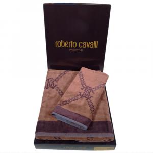Roberto Cavalli set 1+1 asciugamano e ospite SPIDER in spugna - marrone