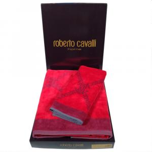 Roberto Cavalli set 1+1 asciugamano e ospite SPIDER in spugna - rosso