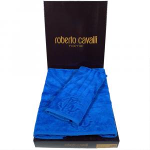 Roberto Cavalli set 1+1 asciugamano e ospite ZEBRONA in spugna - bluette