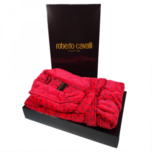 Roberto Cavalli accappatoio sciallato LEO spugna di puro cotone - rosso