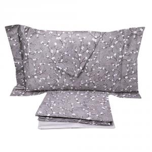 Completo lenzuola matrimoniale 2 piazze in raso DONDI Bonsai - grigio