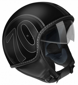 Casco jet Max Mustang Scratch 1970 Nero Cromo opaco