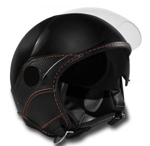 Casco jet LS Trendy Vision Doppia Visiera nero con pelle in carbon look