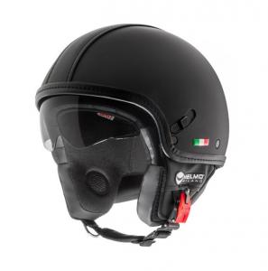 Casco jet Helmo Puro Stile Limited Edition nero pelle opaco
