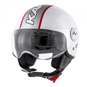 Casco jet Kappa KV20 Rio Slight Graphic bianco lucido rosso