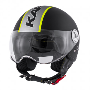 Casco jet Kappa KV20 Rio Slight Graphic nero opaco giallo fluo