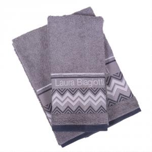 Set 1+1 asciugamano e ospite in spugna LAURA BIAGIOTTI Alessandria grigio