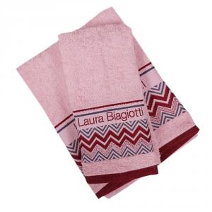Set 1+1 asciugamano e ospite in spugna LAURA BIAGIOTTI Alessandria rosa