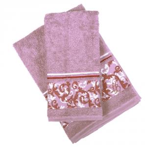 Set 1+1 asciugamano e ospite in spugna LAURA BIAGIOTTI Verona malva