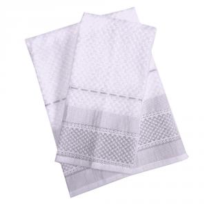Set 1+1 asciugamano e ospite in spugna LAURA BIAGIOTTI Augusta bianco e grigio