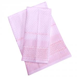 Set 1+1 asciugamano e ospite in spugna LAURA BIAGIOTTI Augusta bianco e rosa