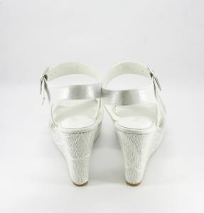 Sandalo cerimonia donna, sposa con zeppa decorata.
