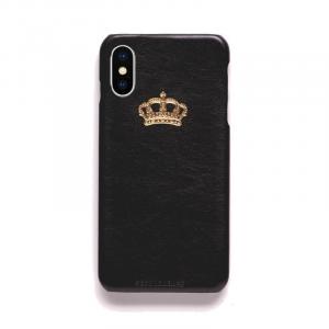 Cover in ecopelle nera marchiata oro a caldo per iPhone vari modelli