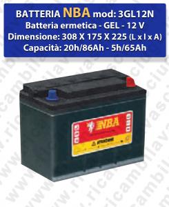 3GL12N Batteria Ermetica GEL  - NBA 12V 86Ah 20/h - 65Ah 5/h