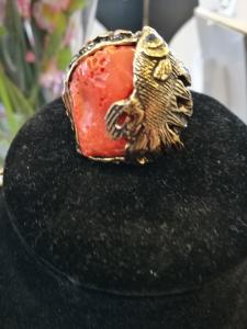 Anello corallo arancione Alcozer collezione unic