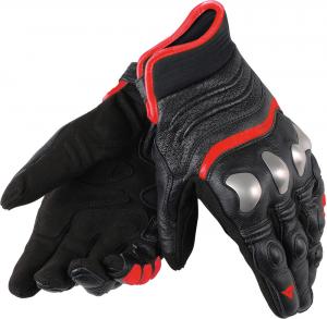 Guanti moto pelle Dainese X-Run con protezioni nero rosso fluo