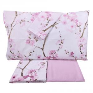 Set lenzuola matrimoniale 2 piazze SOMMA 100% percalle Madame rosa