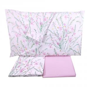 Set lenzuola matrimoniale 2 piazze SOMMA 100% percalle Botanique rosa