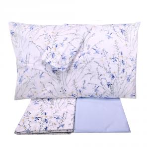 Set lenzuola matrimoniale 2 piazze SOMMA 100% percalle Botanique azzurro