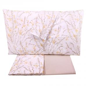 Set lenzuola matrimoniale 2 piazze SOMMA 100% percalle Botanique beige