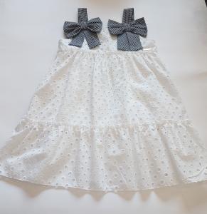 Vestito in sangallo bianco con fiocchi da bambina 3-7anni
