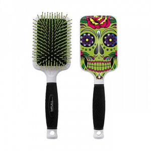 Bifull Racket Hair Brush Green Skull